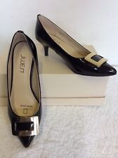 BRAND NEW J WEST BLACK PATENT LEATHER & GOLD BUCKLE TRIM HEELS SIZE 3/35