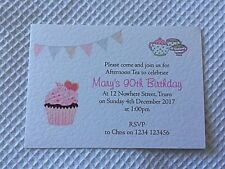 10 Personalised Birthday Invitations Afternoon Tea 60th 70th 80th 90th 100th