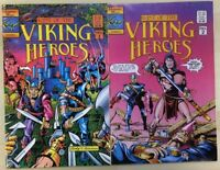LAST OF THE VIKING HEROES lot (2) #1 & #2 (1987) Genesis West Comics VG+/FINE-