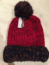 DO EVERYTHING IN LOVE Red-Blue Baggy Beanie Pom Pom Knit Hat NWT