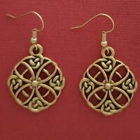 Celtic Circle Earrings Gold plated religious dangle drop religion Statement