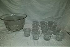IMPERIAL GLASS CAPE COD CRYSTAL PUNCH BOWL + 12 PUNCH CUPS