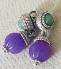 Judith Ripka Purple & Green Chalcedony Earrings .925 Sterling Silver