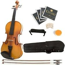 Adult Violin Mendini with Hard Case Shoulder Rest Bow Rosin Extra Bridge Strings