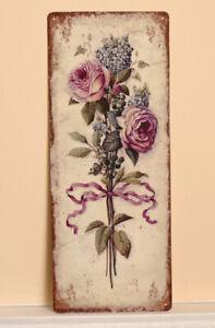 Blechschild Metallschild Blumen Maison Fleur Barock Design 50x20cm Antik Shabby