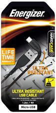 2x Energizer Micro-USB Ultra Resistant Cable 1.2m Black. Lifetime warranty