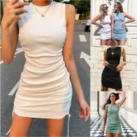 Women Sleeveless Ruched Drawstring Sexy Mini Dress Summer Party Bodycon Clubwear