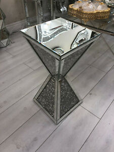 Glitter Sparkly Mirrored Glass Diamond Crush Crystal side table 30x30x60cm