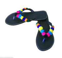 Women Slippers Indian Handmade Leather Jutties Flip-Flops Black UK 2.5 EU 35