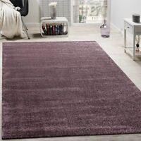 Plain Purple Rug Shine Effect Soft Short Pile Modern Room Carpet Small Large XL