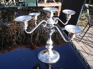 Silver Plated Candelabra with Five Candle Holders.