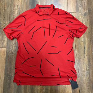 Nike Golf DRI- FIT Tiger Woods Collection Red Polo Shirt Mens Size M