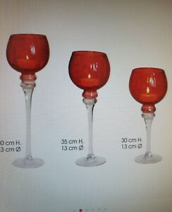 Teelichthalter 3er Set Windlicht Set, Kelch rot Tischdeko