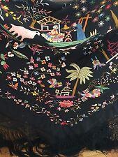 Art Deco Manton de Manila Embroidered Silk Piano Shawl