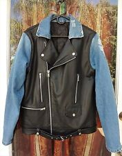 Biker jacket -  Custom made black and blue designer inspired biker jacket