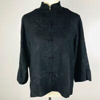 Citron Santa Monica Black 100% Silk Lobster Print Kimono Style Blouse Medium