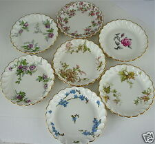 ANTIQUE LIMOGES HAVILAND SMALL BERRY/JAM BOWL SET 7,FLOWERS,LEAVES,GOLD,GARLAND