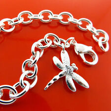 BRACELET 925 STERLING SILVER SF SOLID DIAMOND SIMULATED DRAGONFLY DESIGN FS3B005