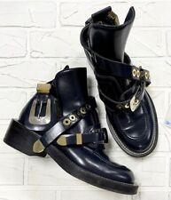 1,5k Authentic Balenciaga Ceinture Blue Leather Buckle Boots Size EU 38,5 US 8,5