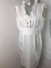 Antonio Melani Sheath V Neck Dress  Ivory Women's Size 8 Lined  Formal Casual