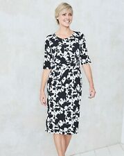 Black/ivory floral twist knot dress uk size 22 bnip