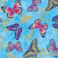 Fabri-Quilt Flights of Fancy Butterflies Blue 100% cotton Fabric by the yard