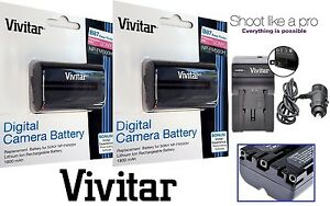 2-Pc Li-Ion NP-FM500H Battery With Charger For Sony Alpha DSLR-A450 DSLR-A500