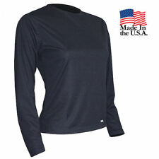 Womens Base Layer Top Long Sleeve Crew Thermal Shirt (Black, L) PolarMAX 2.0