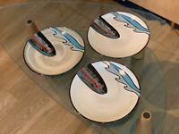 Set Of (3) Better Homes & Gardens Trout Lodge Fish Dinner Plates