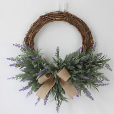 Artificial Lavender Flower Wreath Rattan Garland Home Garden Party DIY Decor