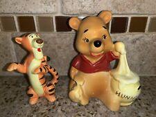 Winnie the Pooh w/Hunny Pot Glass Figure and Tigger Glass Figure #1094