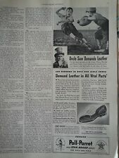 1941 Poll Parrot Childrens Shoes Boys Football Uncle Sam Original Ad