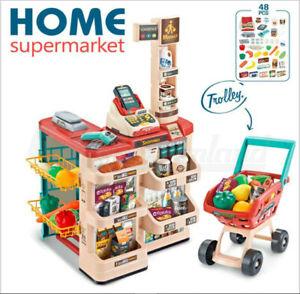 48PC Kids Children Supermarket Cashier Trolley Shopping Toy Pretend Play Set