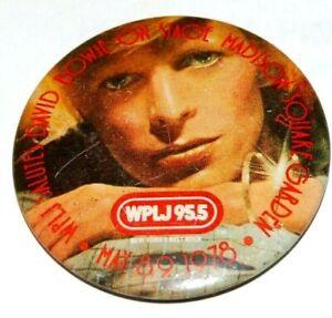 1978 Vintage DAVID BOWIE WPLJ 95.5 pinback button pin music musician memorabilia