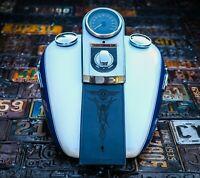 Harley Davidson Leather Fuel Gas Tank Panel Bib Fat Boy Softail Retro Pinstripe