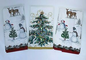 Williams Sonoma Dish Hand Towels Set of 3 Holiday 100% Cotton Winter Christmas