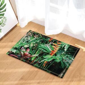 Tropical Green Plant Decor Bathroom Non-Slip Floor Outdoor Indoor Front Door Mat