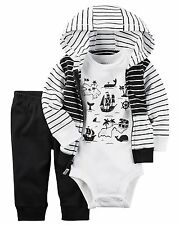 Carters Baby Boys 3-Piece Map bodysuit And Cardigan Set 9 Months