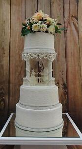 "WHITE HANDMADE LIGHTED FAIRY TALE BEAUTY & BEAST WEDDING CAKE SEPERATER  8"""