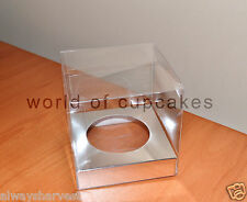 Single Clear Plastic Cupcake Boxes Box Silver Insert Paper Wedding Set of 20