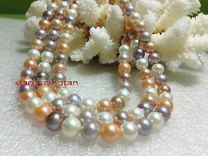 """AAAAA Multicolor 36""""9-10mm REAL south sea white PINK purples pearl necklace 14K"""