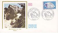 Enveloppe 1er jour CEF Soie 1974 Club Alpin Centenaire