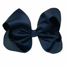 15cm Nave Blue Cute Girls Hair Bows Grosgrain Ribbon Knot Large With Clip
