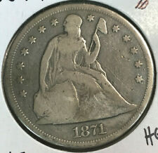 1871 $1 Seated Liberty Silver Dollar VG