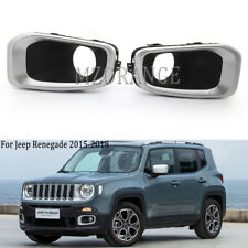Pair For Jeep Renegade 2015-2018 Fog Light Chrome Cover Bezel Bumper Lamp Front