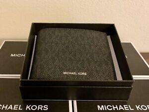MICHAEL KORS Men's Leather BLACK MK Jet Set Bifold Wallet NIB Retail $88