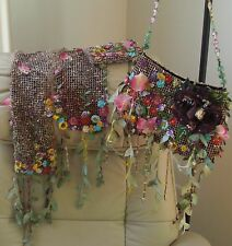 Mary Frances (3 items) PURSE SCARF & EYEGLASS CASE Flowers & Vines Mint Perfect
