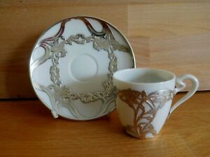 ART NOUVEAU AMERICAN LENOX CHINA SILVER OVERLAY DEMITASSE COFFEE CUP AND SAUCER