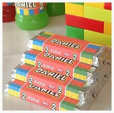 Pre Cut Personalised LEGO Kit Kat Chocolate Bar Kids Party Favours Wrappers x6