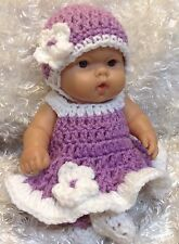 10 Inch Doll Clothes.Fits Berenguer/ Reborn Doll.Purple/white Dress Set.Handmade
